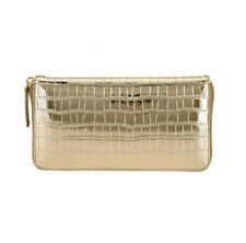 Women Clutch Purse with Hand Strap Genuine Leather Zipper Wallet Clubber Gold