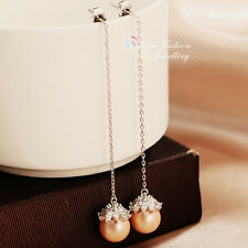 18K White Gold Plated Simulated Pearl Drop Flower Champagne Ear Line Earrings