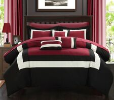 Duke Pieced Color Block Bed in a Bag 10 Piece Comforter Set W/ Sheets Red Queen
