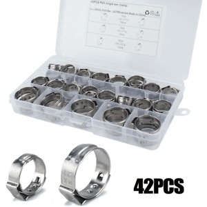 42pcs PEX Single Ear Hose Clamps Stainless Steel Car Hydraulic Fuel Pipe O-Clips