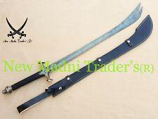 "41"" DAMASCUS HANDMADE BLACK LEATHER HANDLE DOUBLE TIP ZULFIQAR SWORD"