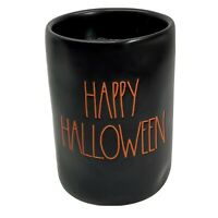 "Rae Dunn LL ""HAPPY HALLOWEEN"" Candle (13.2oz) Pumpkin Pie Scent-Black/Orange NEW"