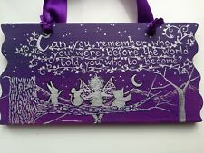 FAIRIES WALL PLAQUE SIGN WOODEN HAND PAINTED LARGE GIFT UNIQUE SENTIMENTAL