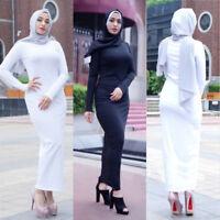 Abaya Muslim Women Jilbab Plain Color Stretch Long Sleeve Arab Maxi Jersey Dress