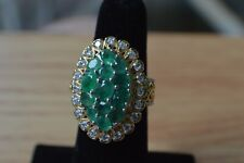 3.45ct Colombian Emerald / Zircon Ring 14K YG Platinum over Sterling Silver Sz 5
