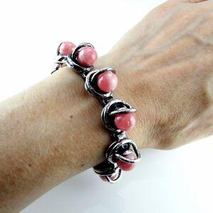 Modernist 1960s 1970s Sterling Silver Rhodochrosite Statement Bracelet Ball 925