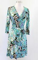 Banana Republic Blue Green Floral Paisley Print 3/4 Sleeve Wrap Tie Dress Size S