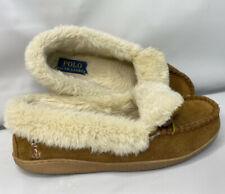 Polo Ralph Lauren Moccasin Slippers Faux Fur Lined Suede Tan Pony Women Sz 6