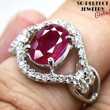 BURMESE 1.71CW Red Ruby Diamond in 18K solid white gold ring Natural Engagement