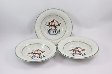 "GEI Snowman Christmas Salad Soup Bowls 7"" Set of 3"