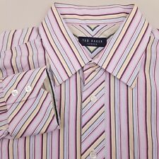 Ted Baker Men's Dress Shirt Long Sleeve Size 16 32/33 Striped Pink Yellow Blue