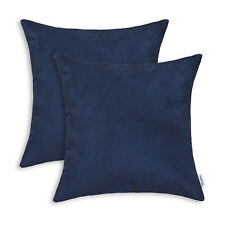 Pack of 2 Square Cushion Covers Pillows Cases Heavy Faux Suede 20x20 Navy Blue