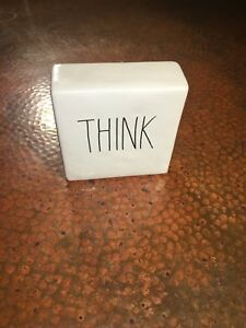 """NEW Rae Dunn by Magenta Ceramic Box Sign Desk Paperweight """"THINK / EVOLVE"""" RARE"""