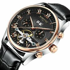 Luxury Men's Skeleton Automatic Mechanical Leather band Date Day Calendar Watch
