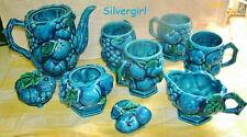 9 Pc Inarco Blue Mood Fruit Ceramic Coffee Tea Pot Creamer Sugar Bowl Mug Set