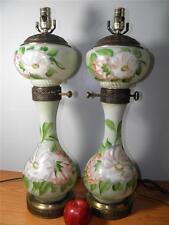 Antique Pair Hand Painted Floral Milk Glass Banquet Lamps Ornate Brass Detail