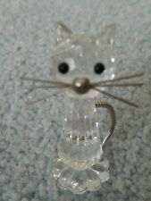 "Swarovski 2"" Crystal Cat Figurine With Metal Spring Tail Metal Whiskers"
