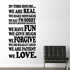 Wall Sticker Art Home Decoration Family Rules II