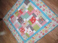 "Handmade Crib Lap Quilt - 35"" x 35"" - 100% Cotton"