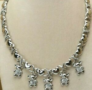 Hugs Kisses 5 Teddy Bear Heart 14k White Gold Necklace Bracelet Ring Earrings 14