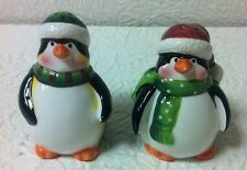 HOLIDAY PENQUIN CERAMIC SALT AND PEPPER SHAKERS NEW IN BOX