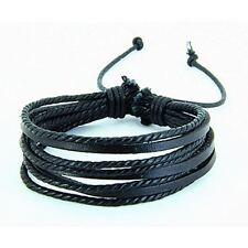 Bijou fantaisie : Bracelet mixte bangle cuir noir , 8 bandes de cuir