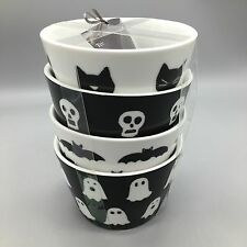 222 Fifth Halloween GHOST GHOULS Snack Appetizer Bowl 4 Set Black Cat Skull Bat