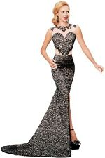 Black Lace Glamour Split Mermaid Maxi Party Dress