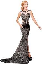 Black Lace Glamour Split Mermaid Maxi Party Dress