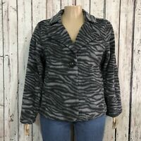 Susan Graver Style Blazer Jacket Misses XL Gray Animal Print Stripe Soft Fleece