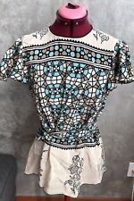 Anna Sui Printed Silk Open Back Tie Wrap Blouse Size 4 *modified*