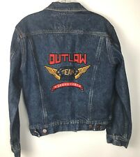 Vintage Outlaw Jeanswear Denim Jacket Womens S Small Embroidered Spell Out