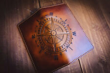 Men's 3D Genuine Leather Wallet, Long Travel wallet, Hand-Carved, Compass