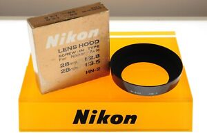 Nikon HN-2 metal lens hood. EXC++ boxed cond. For 28mm 2.8 and 3.5 lenses.