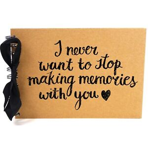 Ribbon, Never Stop Making Memories, Photo Album, Scrapbook, Blank White Pages,A5