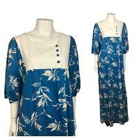 1970s Hawaiian Dress / Hilo Hatties Floral Muumuu A Line Cotton Dress / Large