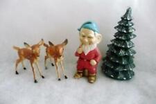 Vintage Gnome 2 Bambi Deer Tree Candle Christmas Display scene