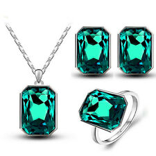Emerald Green Rectangle Jewellery Set Earrings Necklace Adjustable Ring S769