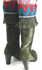 PAZ Boots Size 37 Green Suede Flower Beads Fringe Design Tall Boots
