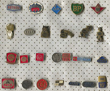 VINTAGE OLD GAS FUEL OIL COMPANIES ESSO SHELL ARAL PAM PIN BADGE LOT 25 PIECES!