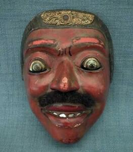 Antique Indonesian Javanese Wayang Topeng Theater Wood Theatrical Mask Indonesia