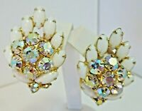 EXQUISITE Vintage Prong Set Milk-glass & AB Rhinestone Clip On Earrings ~ MINT!