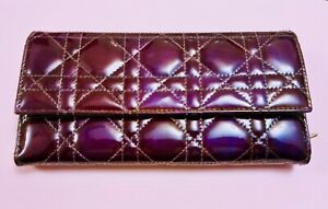 Christian Dior Wallet Authentic, 'quilted', aubergine, patent, leather Wallet