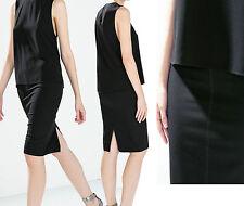 New ZARA Black Light Wool Pencil Knee Length Office Casual Formal Skirt 8 to 16