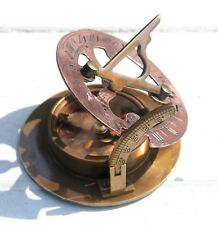 Antique Copper Nautical Sundial Compass WEST LONDON Pocket Compass Marine Item.
