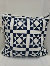 "Calvin Klein Abigail 18"" X 18"" Geometric Quilted Decorative Pillow - NAVY"