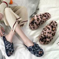 Women Warm Leopard Plush Soft Slippers Home Anti-slip Floor Bedroom House Shoes