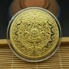 Mystic Gold Plated Mayan Aztec Calendar Souvenir Commemorative Coin Collection