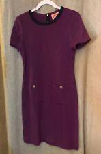 TORY BURCH Sweater DRESS sz M Burgundy short sleeves Buttons Pockets