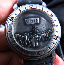 NEW ALL STEEL LEVI'S ANTIQUE  STYLE EMBOSS DIAL QUARTZ  MEN WATCH FREE SHIPPING